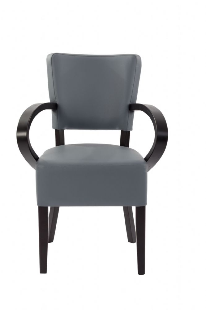 Café Arm Chair Available in Pewter, Soft Cream and Dark Chestnut